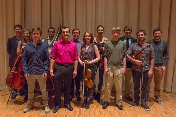 Members of the composition studio after a performance of their works by the string quintet Sybarite5 in 2015