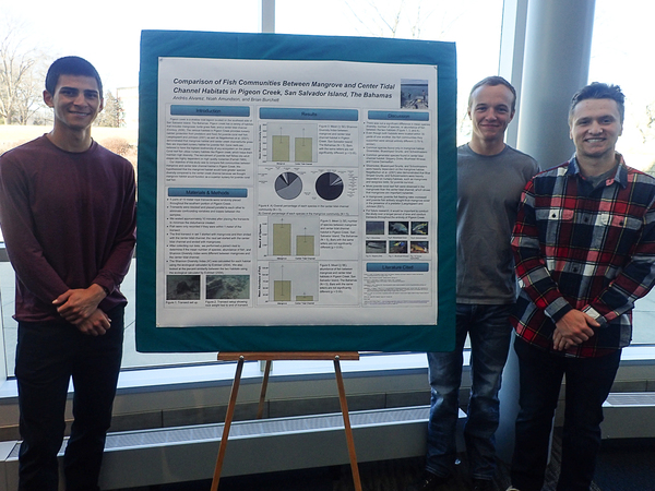 "Bio 247 students, Andres, Brain and Noah with their research poster.<a href=""/reason/images/801985_orig.jpg"" title=""High res"">∝</a>"