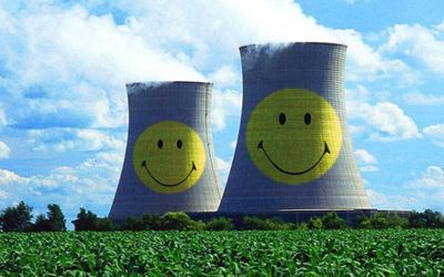 Nuclear plant cooling towers.