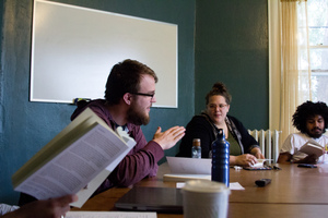 Students discussing philosophy in a classroom at Luther College