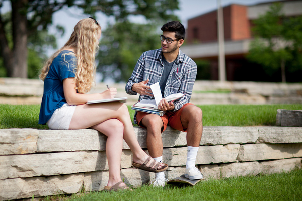 Finding the right college - two students on campus.
